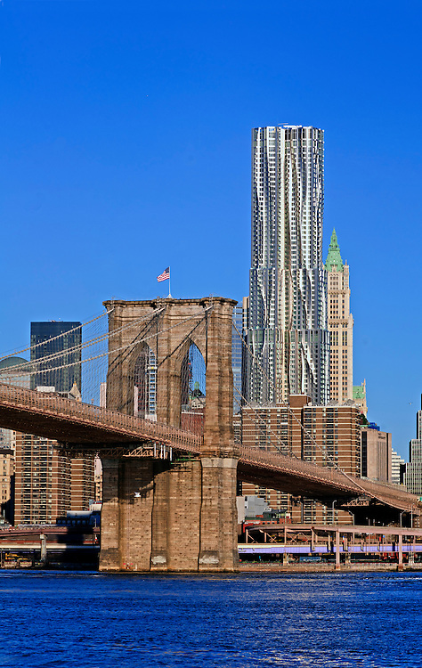 Brooklyn Bridge, designed by John Augustus Roebling, 8 Spruce Street, architect Frank Gehry, The Woolworth Building designed by Cass Gilbert, Manhattan, New York City, NY