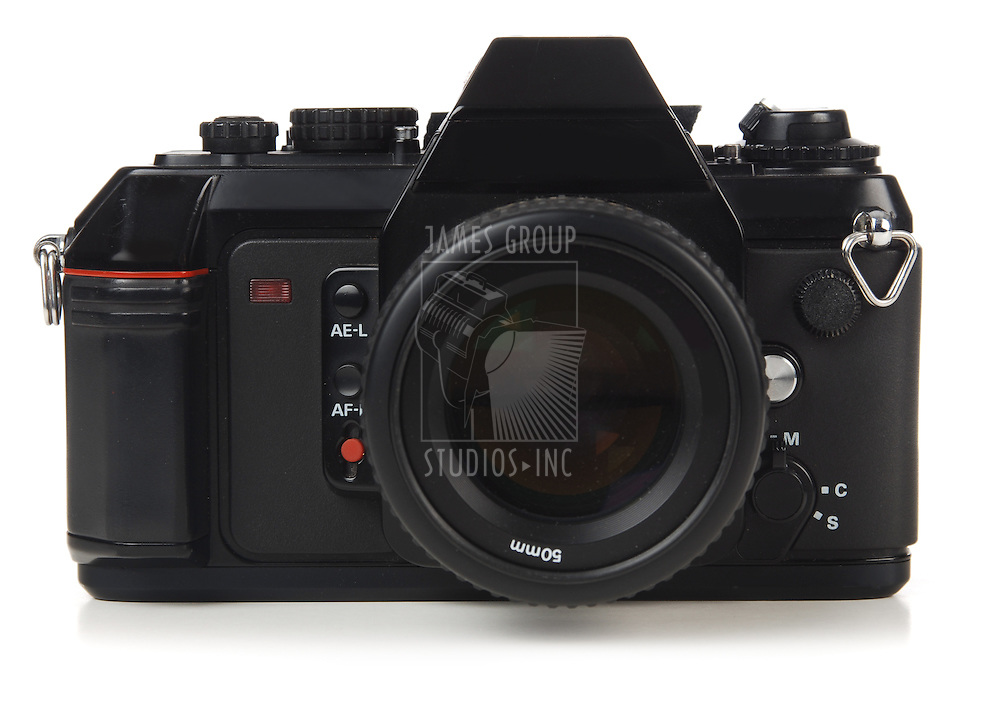35mm SLR camera shot on white background orthographic view