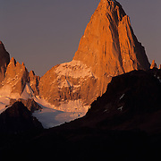 Mt. FitzRoy in evening light, Parque Nacional las Glaciares, El Chaltan, Patagonia, Argentina.
