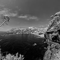Infrared photo Monterosso Cinque Terra harbor, Italy