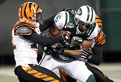 Jan 3, 2010; East Rutherford, NJ, USA; New York Jets wide receiver Brad Smith (16) runs for a 57 yard gain during the first half of their game agains the Cinncinati Bengals at Giants Stadium.