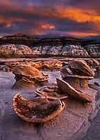 """Sunset on the """"Egg Garden"""". Bisti Wilderness in northwest New Mexico."""