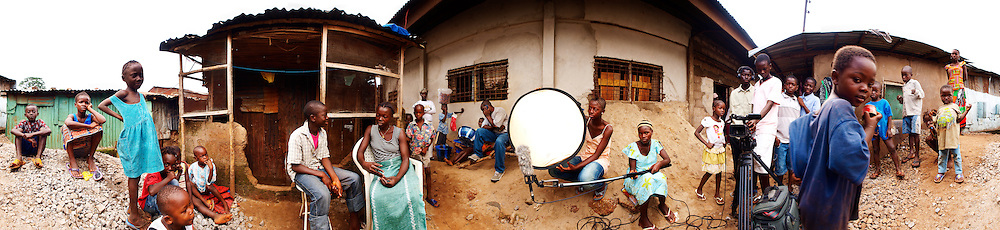 One of the video team taking part in the Save the Children video workshop, Kroo Bay, Freetown, Sierra Leone.