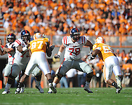 Ole Miss offensive lineman Bradley Sowell (78) blocks in a college football game at Neyland Stadium in Knoxville, Tenn. on Saturday, November 13, 2010. Tennessee won 52-14.