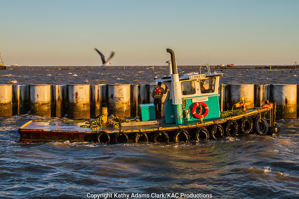 Dredge tender work boat in Galveston, Texas.
