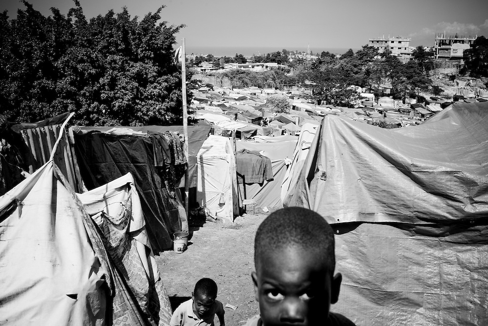 Two boys in a camp for those displaced by the recent earthquake in Petionville, outside Port-au-Prince, Haiti.
