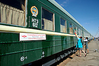 After braving dust storms, and a long border crossing the train rolls into Ulan Bator station.  Provodnitsa busily clean up the railway carriage before pushing off towards Irkutsk.