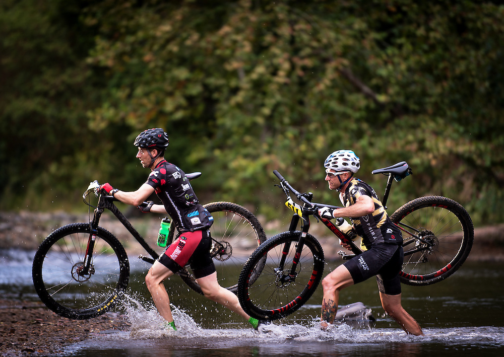 The Patapsco 100 Bike Race, loop one, crossing the Patapsco river upriver from the route 40 bridge.