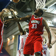 """Maine Red Claws Forward Chris Wright (33) blocks Delaware 87ers Forward Keith """"Tiny"""" Gallon (41) shot attempt in the first half of an NBA D-league regular season basketball game between the Delaware 87ers (76ers) and the Maine Red Claws (Boston Celtics) Tuesday, Feb. 4, 2014 at The Bob Carpenter Sports Convocation Center, Newark, DE"""