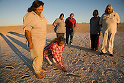Pleistocene human footprints: Willandra Lakes in southeastern Australia..Elders representing the three traditional tribal groups of the Willandra Lakes World heritage area, the Barindji , the Mutthi Mutthi and Ngiyampaa,  look at what is concidered to be the largest collection of Pleistocene human footprints in Australia and possibly the world located on their traditional land...