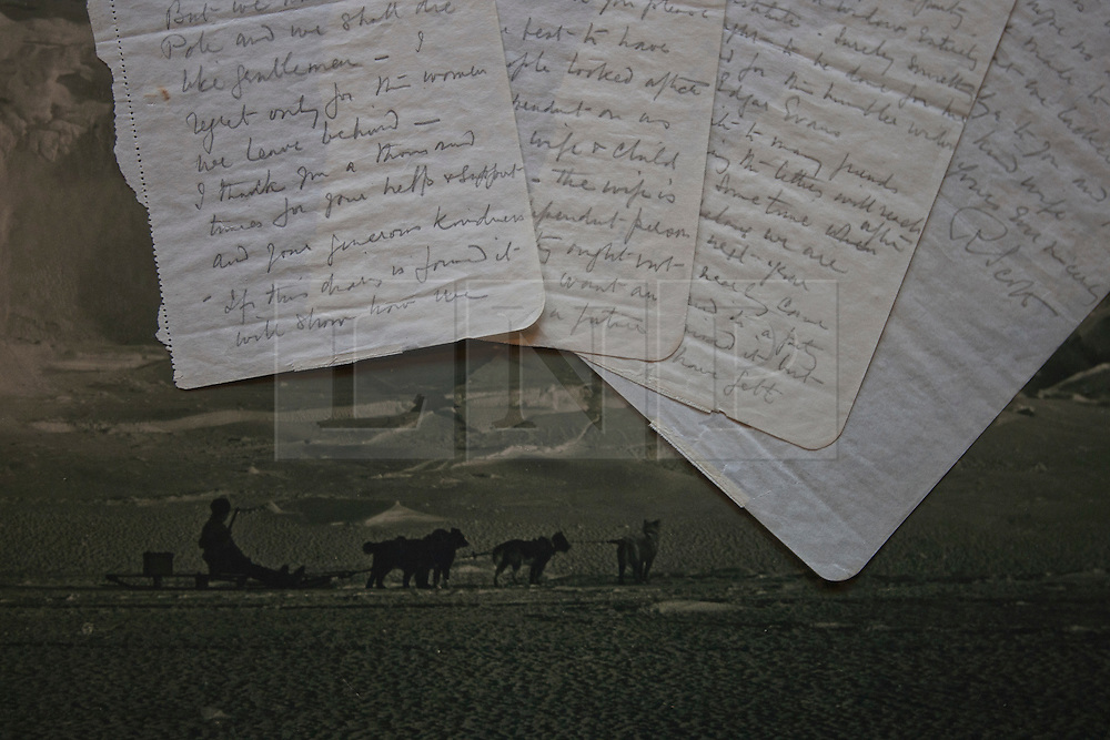 © licensed to London News Pictures. London, UK 22/03/2012. The final letters written by Captain Scott pictured with Herbert George's picture. The letters were written as he laid near death in the Antarctic, which is estimated at £100,000 to £150,000, going to be sold on March 30th by Bonhams, London. Photo credit: Tolga Akmen/LNP