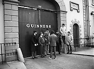 Chieftains at Guinness Brewery, Dublin. ..1983-02-21.21st February 1983.21/02/1983.02-21-83 ..Pictured at Guinness Brewery, St James's Gate, Dublin..Chieftains stand outside the Guiinness Brewery