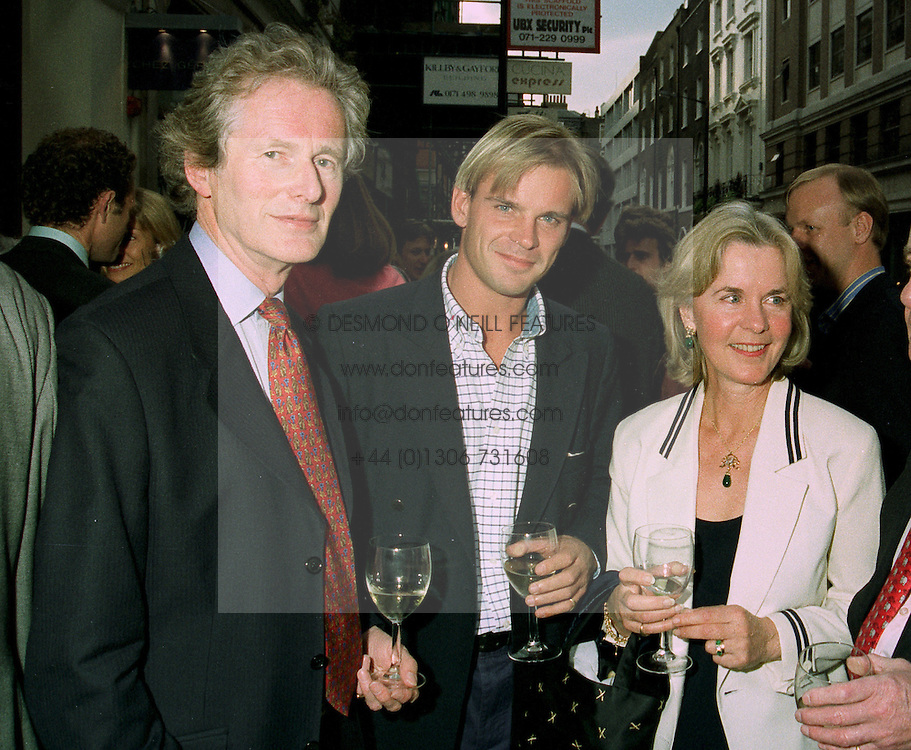 Left to right, the EARL OF MEXBOROUGH, the HON.CHARLES VIVIAN and his mother the COUNTESS OF MEXBOROUGH, at an exhibition in  London on 24th June 1997.LZR 12 3OLO