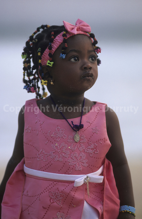 LITTLE CONGOLESE GIRL IN HER SUNDAY CLOTHES, POINTE NOIRE, CONGO