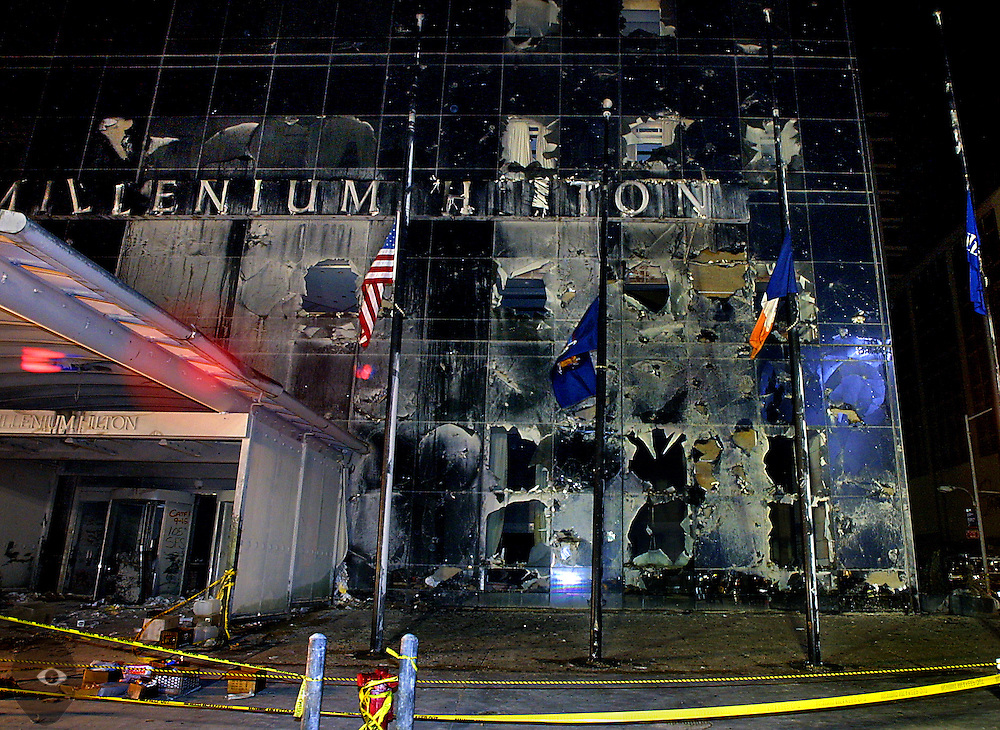 Damage done to the Millenium Hilton Hotel which sits adjacent to the former World Trade Center towers at Ground Zero.