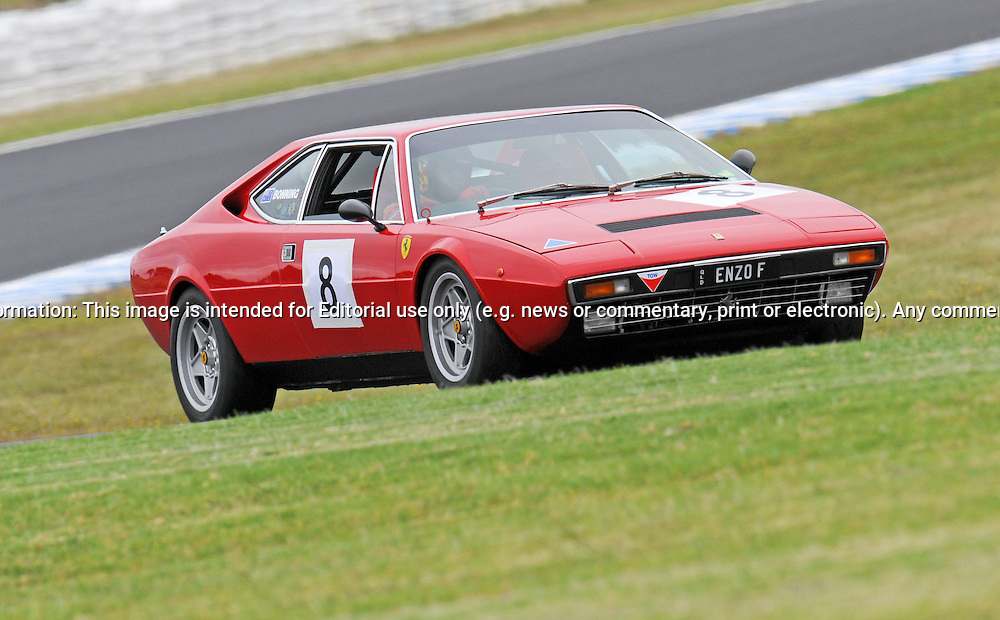 Brenden Bonning - Ferrari 308 GT4.Historic Motorsport Racing - Phillip Island Classic.18th March 2011.Phillip Island Racetrack, Phillip Island, Victoria.(C) Joel Strickland Photographics.Use information: This image is intended for Editorial use only (e.g. news or commentary, print or electronic). Any commercial or promotional use requires additional clearance.