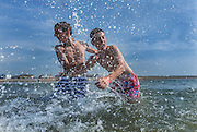 9/7/2013<br /> Sam Dwyer (left) from Bennettsbridge Co. Kilkenny and Robert Dunne from Gowran Co. Kilkenny pictured on Tramore beach Co. Waterford.<br /> Picture Dylan Vaughan.