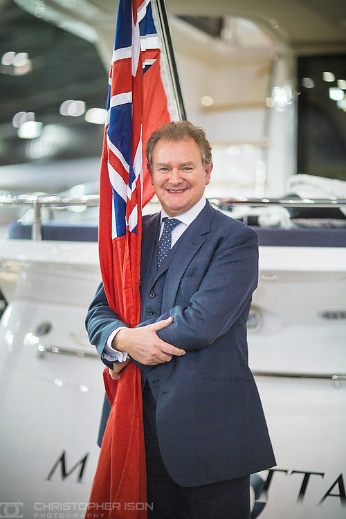 Actor Hugh Bonneville opens the Sunseeker stand at the London Boat Show 2016. Bonneville is best known for playing Robert Crawley, Earl of Grantham in the ITV period drama series Downton Abbey. <br /> Picture date: Friday January 8, 2016.<br /> Photograph by Christopher Ison &copy;<br /> 07544044177<br /> chris@christopherison.com<br /> www.christopherison.com