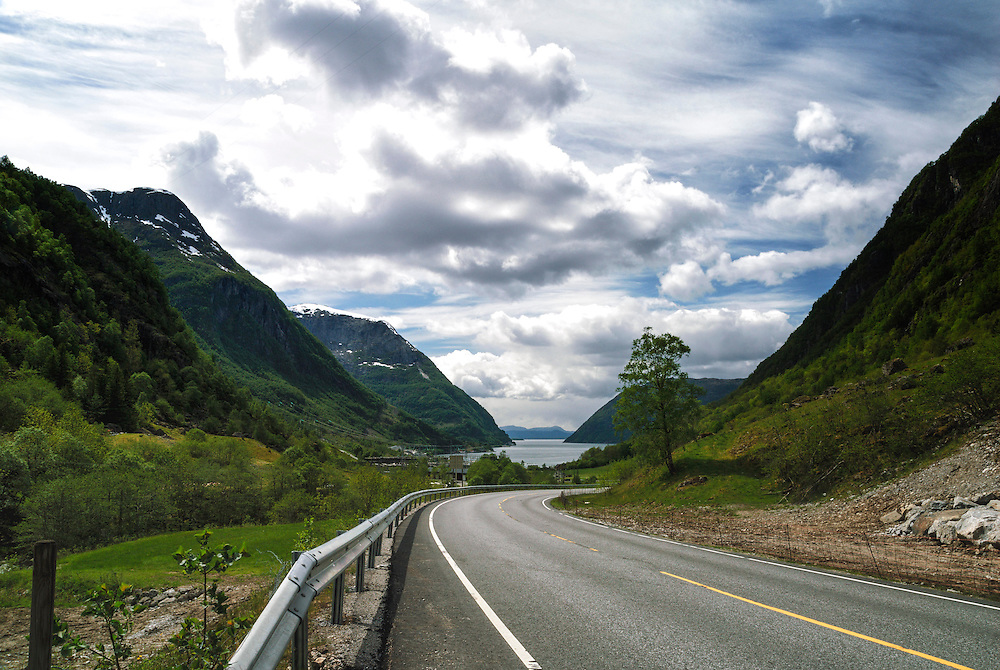 View out over Maurangerfjorden, Hordaland, Norway.