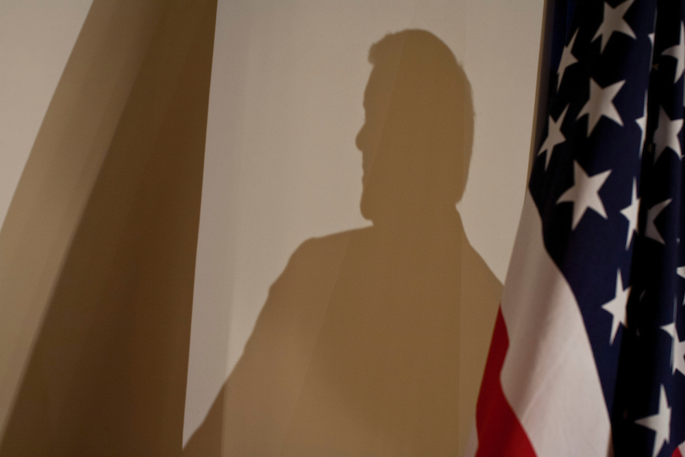 Republican presidential candidate Newt Gingrich casts a shadow as he speaks at a campaign event at the Wakonda Club on Friday, December 30, 2011 in Des Moines, IA.