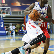 Delaware 87ers Guard LaQuentin Miles (20) drives towards the basket in the first half of a NBA D-league regular season basketball game between the Delaware 87ers and the Maine Red Claws (Boston Celtics) Friday, Dec. 12, 2014 at The Bob Carpenter Sports Convocation Center in Newark, DEL
