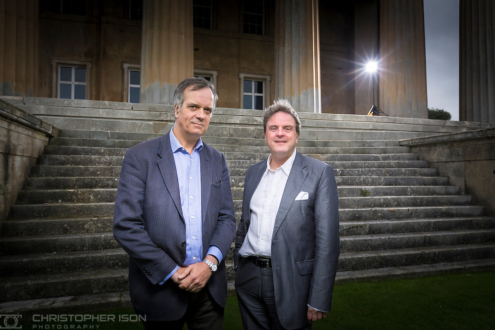 Mark Baring (left), son of Lord Ashburton and Michael Chance, Artistic Director of The Grange Festival pictured at Grange Park in Hampshire. The Grange Festival will have its inaugural season in June, 2017 after parting with its previous tenants, Grange Park Opera, who enjoyed 16 years at the award winning theatre. <br /> Picture date: Thursday October 20, 2016.<br /> Photograph by Christopher Ison &copy;<br /> 07544044177<br /> chris@christopherison.com<br /> www.christopherison.com