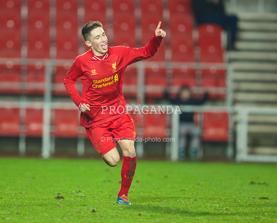 ST. HELENS, ENGLAND - Wednesday, January 15, 2014: Liverpool's Harry Wilson celebrates scoring the third goal against Aston Villa during the FA Youth Cup 4th Round match at Langtree Park. (Pic by David Rawcliffe/Propaganda)