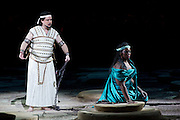 22.02.2012. London, UK. A brand new production of Giuseppe Verdi's awe-inspiring masterpiece, Aida, directed by Stephen Medcalf. The drama unfolds in the very heart of the Royal Albert Hall, drawing the audience in from all sides. With a combined cast of over 120 soloists, chorus, actors and dancers. Picture shows Aida played by  Indra Thomas, and Radames by Marc Heller. Photo credit : Tony Nandi