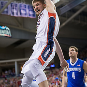 Gonzaga's Domantas Sabonis(11) dunks the ball in the second half of play against the Memphis Tigers at the McCarthey Athletic Center in Spokane, WA, Saturday, Jan. 31, 2015. (Ryan Sullivan/Gonzaga University)