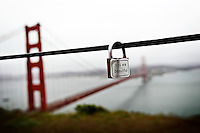 20 April 2015:  Personal lock that reads You Are Beautiful hanging from a metal guard rope just north of the Golden Gate Bridge in San Fransisco Marin County.  Battery Spencer lookout point.