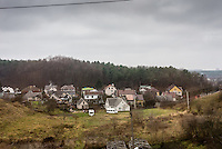 A view from the train as it travels from Paneriai to Vilnius in Lithuania