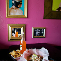 Taco at Lucha libre Taco Shop in San Diego, California