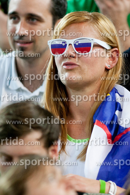 Slovenian fan during basketball match between National teams of Finland and Slovenia in 2nd Round at Day 13 of Eurobasket 2013 on September 14, 2013 in SRC Stozice, Ljubljana, Slovenia. (Photo By Urban Urbanc / Sportida)