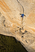 Alex Honnold free climbing the Headwall Pitch (13b) of the Salathe Wall on El Capitan, Yosemite National Park.