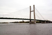 Iowa USA, A suspension bridge over the Mississippi between Burlington, IA and Gulf Port, IL