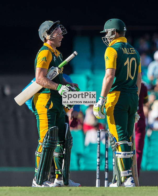ICC Cricket World Cup 2015 Tournament Match, South Africa v West Indies, Sydney Cricket Ground; 27th February 2015<br /> South Africa&rsquo;s AB De Villiers and South Africa&rsquo;s David Miller between overs