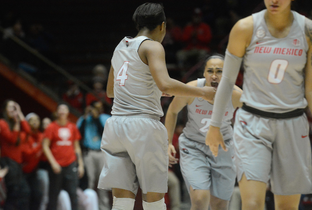 Lady Lobos defeat Boise State, Wednesday, Jan. 18, 2017, in Albuquerque, N.M.<br /> (Marla Brose/Albuquerque Journal)