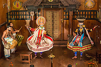 Kathakali is a  classical Indian dance drama noted for the attractive makeup of the characters, elaborate costumes, defined gestures and presented with dramatic background drumming and percussion.  It originated in Kerala during the seventeenth century and is a popular form of entertainment in Southern India.