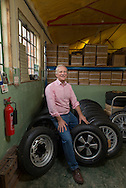 Julian Majzub, founder / owner of &quot;Blockley tyre&quot; posing with a 185/70 VR 15 on a Fuchs wheel, classic combination for<br /> instance for early 911 Porsches.