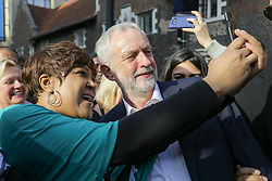 © Licensed to London News Pictures. 19/04/17. Croydon, UK.  Labour Party leader JEREMY CORBYN addresses supporters in Croydon town centre, joined by labour councillors and supporters, on the day that the House of Commons voted for a snap general election on June 8, 2017.  Photo credit: Grant Melton/LNP