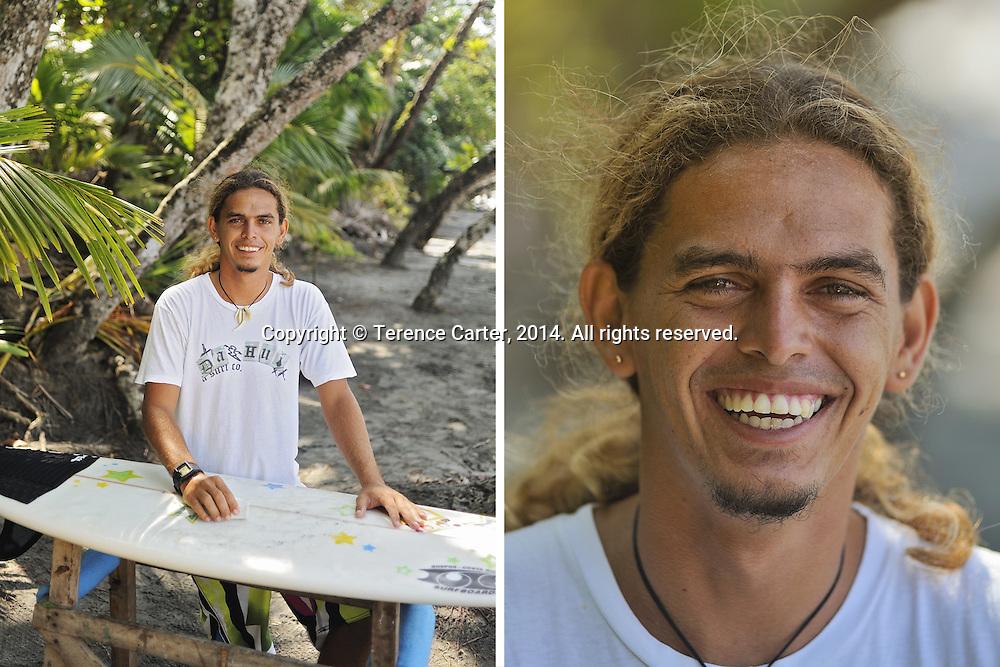 Surf Instructor, Ivan Castillo, Manuel Antonio, Costa Rica. Copyright 2014 Terence Carter / Grantourismo. All Rights Reserved.