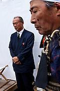 Soma Kazutane ex king of Soma (L)  at the house of Samurai Fuku Taisho during the Soma Nomaoi festival in Minami Soma.