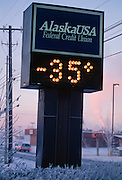 Alaska. Fairbanks. The current thermometer showing temperature.