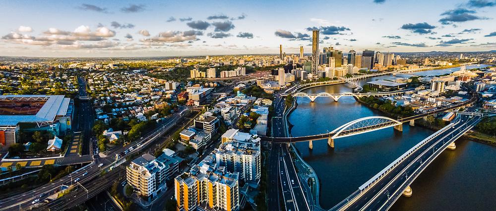 Aerial panorama of Brisbane city and Brisbane River, Queensland, Australia