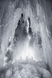 The view from inside a frozen waterfall ~ Memorial Falls in Munising, Michigan