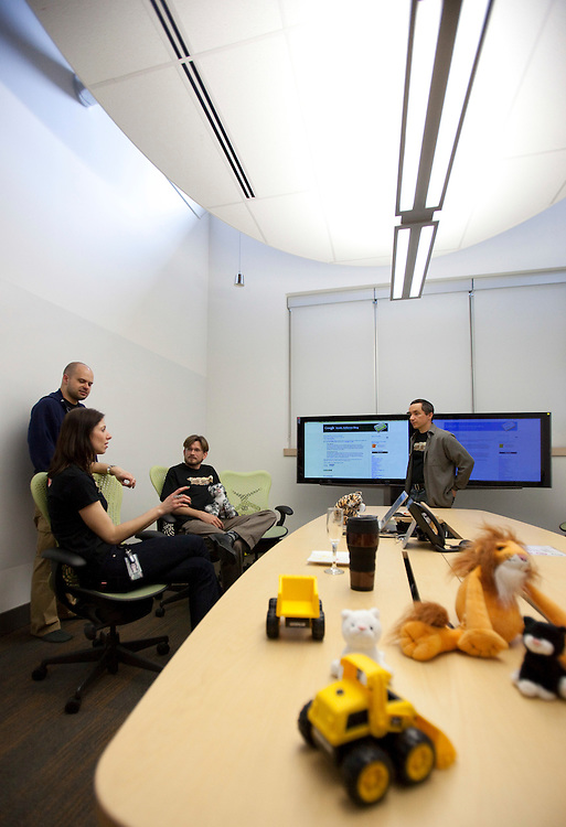 Kitchener, ONT.: May 18, 2011 --  <br /> Google employees gather in one of their unique employee friendly workplaces during an open house at their offices in Kitchener, Ontario Wednesday, May 18, 2011.<br /> (GEOFF ROBINS for National Post)