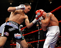 June 5, 2007; New York, NY, USA;  Julio Cesar Chavez Jr. (black trunks) and Grover Wiley (white trunks) trade punches during their 10 round bout at Madison Square Garden in New York City.