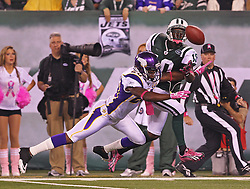 Oct 11, 2010; East Rutherford, NJ, USA; Minnesota Vikings safety Madieu Williams (20) knocks the ball away from New York Jets wide receiver Santonio Holmes (10) during the first half at the New Meadowlands Stadium.