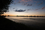 Yellowstone River, sunset, east of Fairview Montana, near its confluence with the Missouri River
