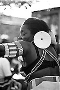 IPLM0031 , South Africa, Soweto, June 2001. Mrs Mudau performs traditional Venda dances. She and her troupe perform at weddings and other functions to promote and preserve their traditional culture.